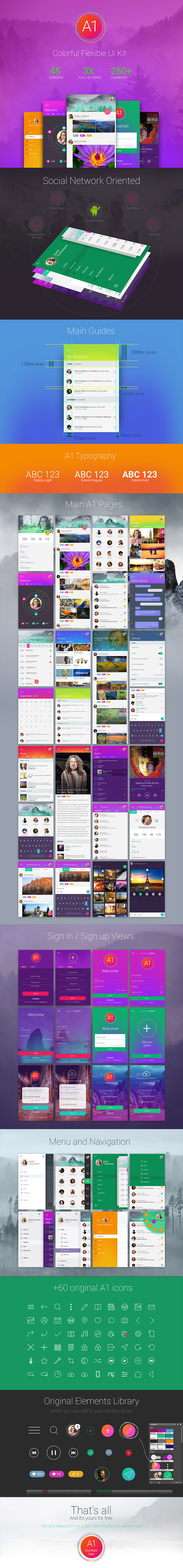 A1 Social App Design UI Kit - Social Oriented PSD Freebie