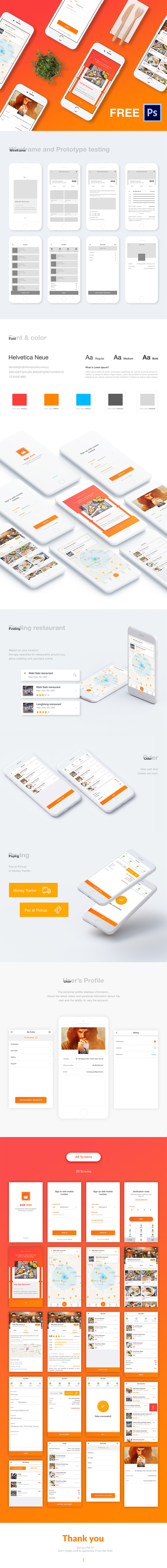 Cook App Design Free UI Kit - 20 free screens