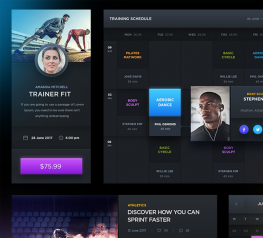 Free Sport and Fitness Dark UI Kit for PSD