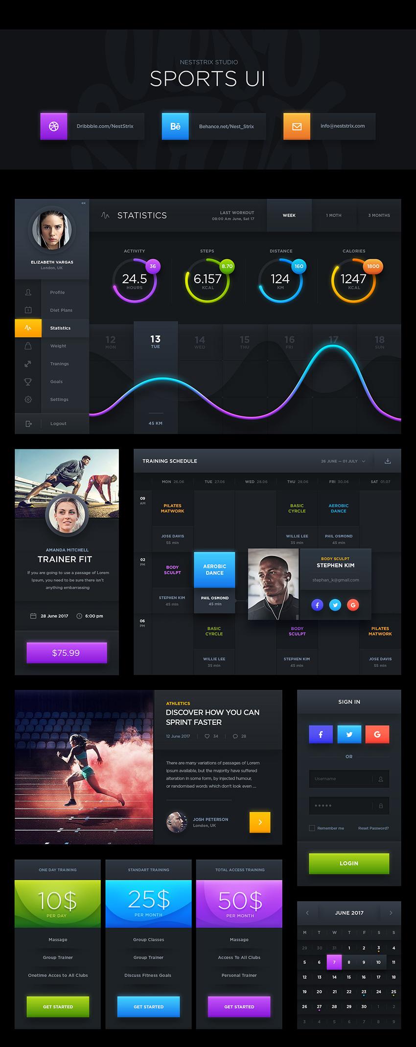 Dark Sports Free UI Kit for Photoshop designers