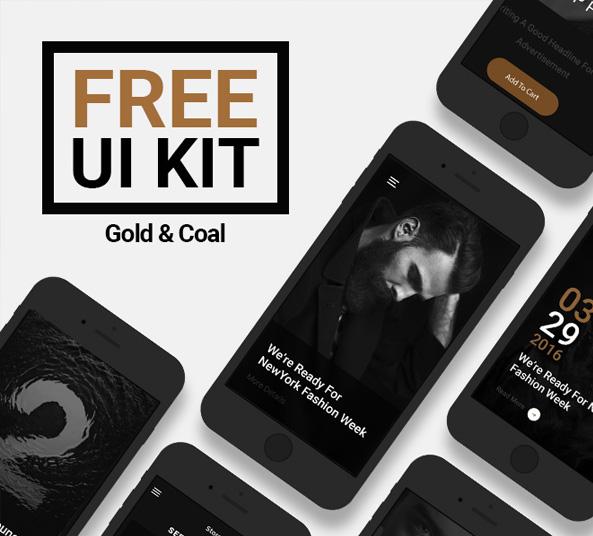 gold-coal-free-ui-kit-app-design-psd-luxury - FreebiesUI