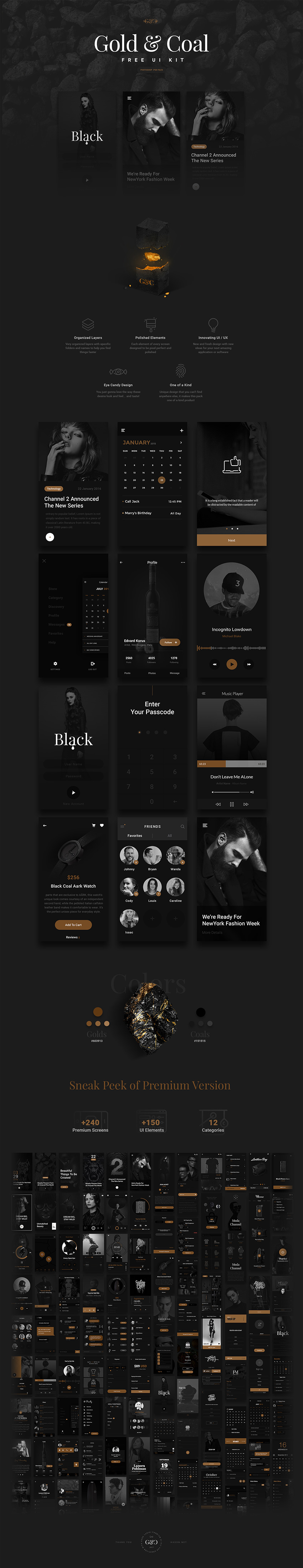 Gold & Coal Free App Design for IOS and Android - Luxury Look UI Resource for Designers