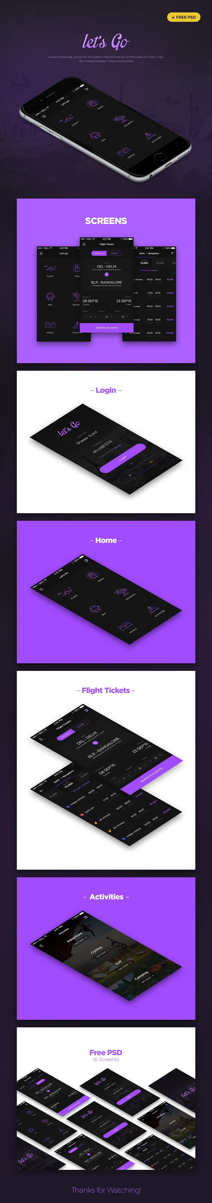 Let's Go Travel App Design UI Kit for PSD
