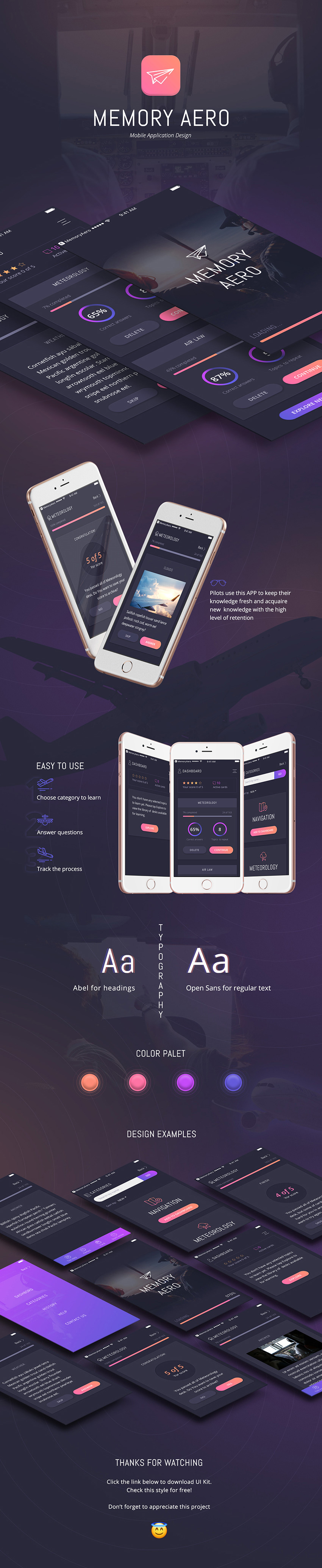 Memory Aero App Design UI Kit for Sketch - iOS Mobile Application