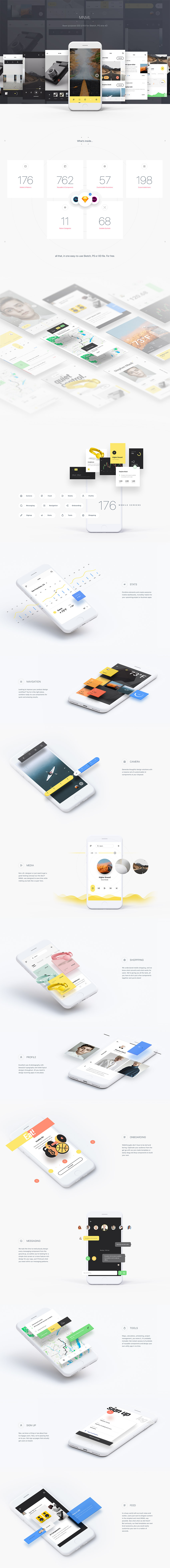 MNML App Design UI Kit for Sketch, PSD and XD - iOS Freebie