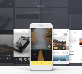 MNML Free App Design UI Kit for Sketch, PSD and XD - Mega Freebie