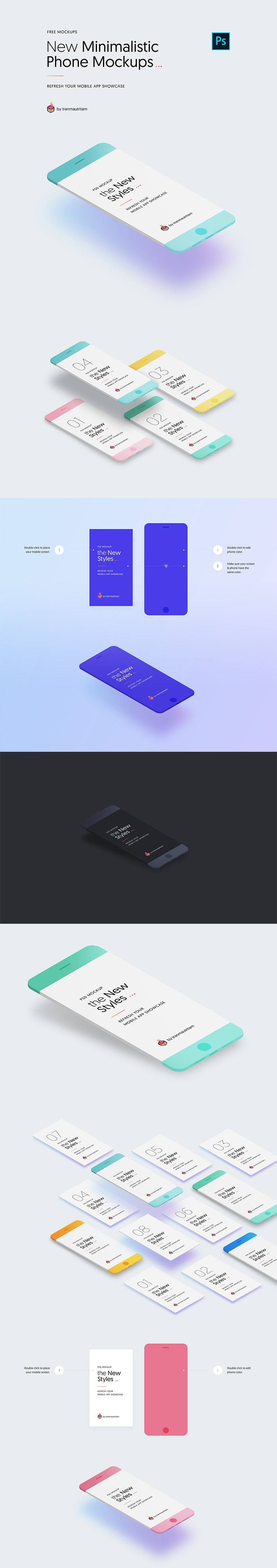 10 Minimal iPhone Mockups for PSD