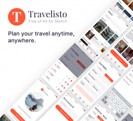 Travelisto App Design UI Kit for Sketch - Free Download 22 iOS Screens