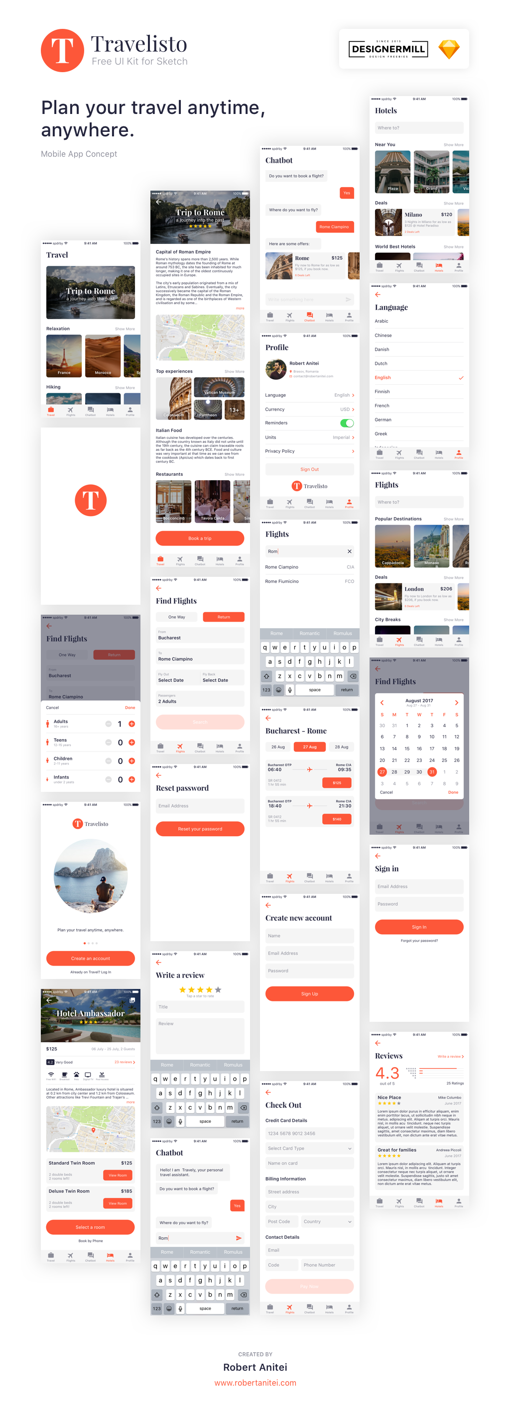 Travelisto App Design UI Kit for Sketch - Grab it Now!