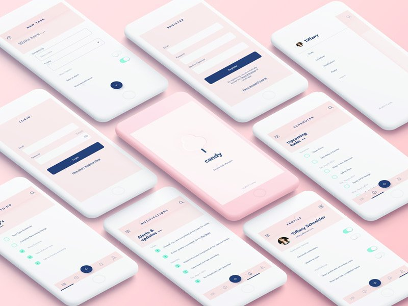 Candy Free App Design UI Kit for Sketch Designers - Pink UI resources