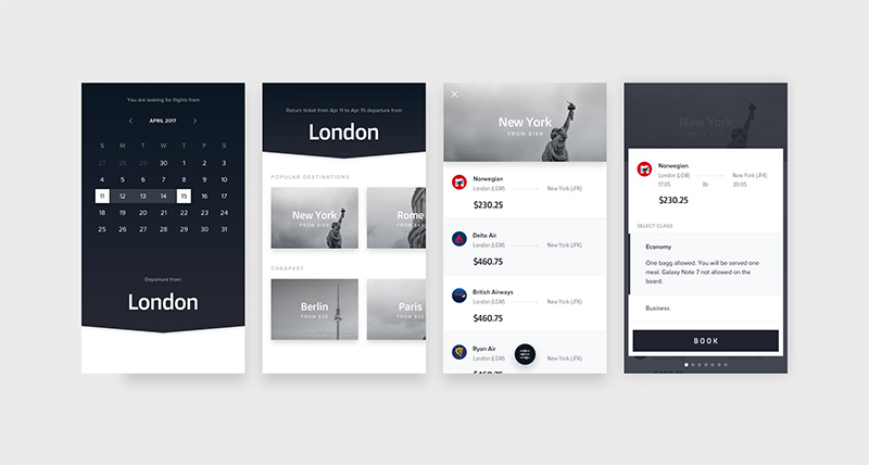 Modern Flights UI Concept for Sketch Designers - Free Download UI KIT