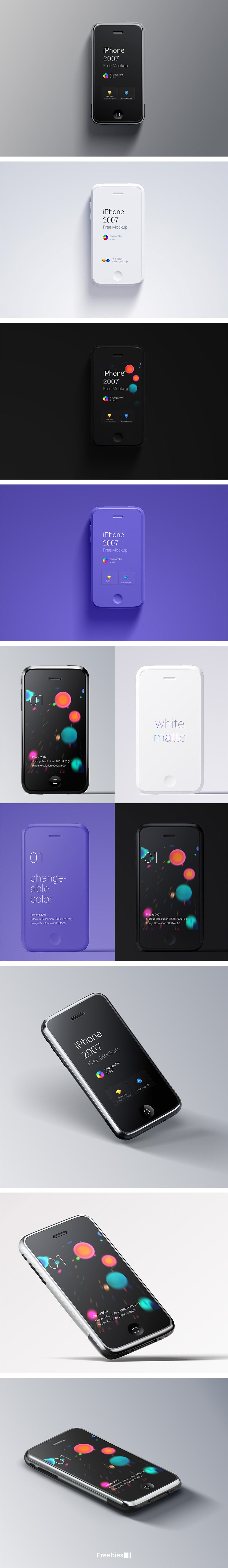iPhone 1st GEN Free Mockup from 2007 - Original colors - Easy to Edit Mockup