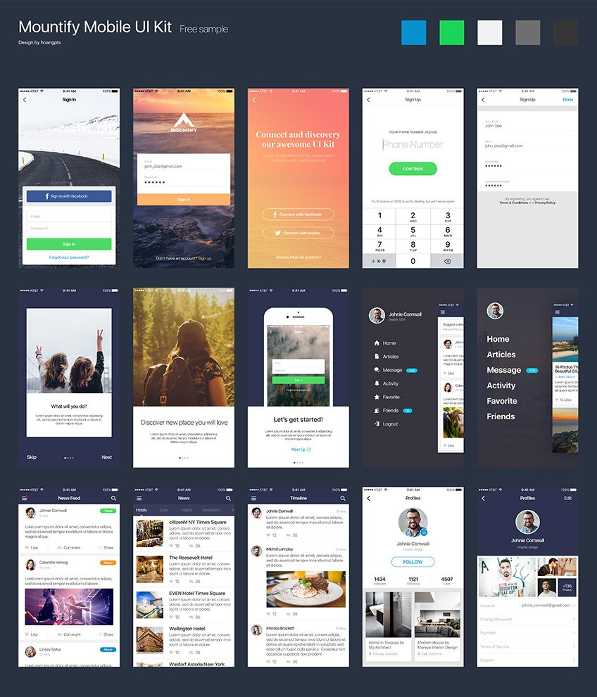 Mountify Free App Design UI Kit for PSD