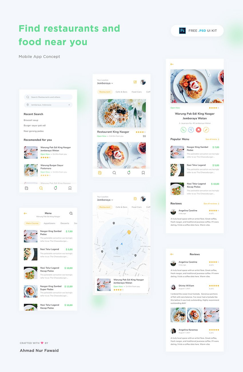 Download restaurant app design ui kit free psd freebiesui