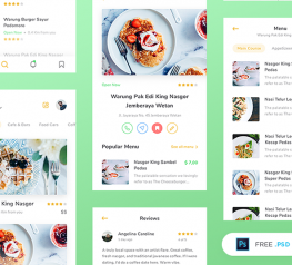 Restaurant App Design UI Kit for PSD