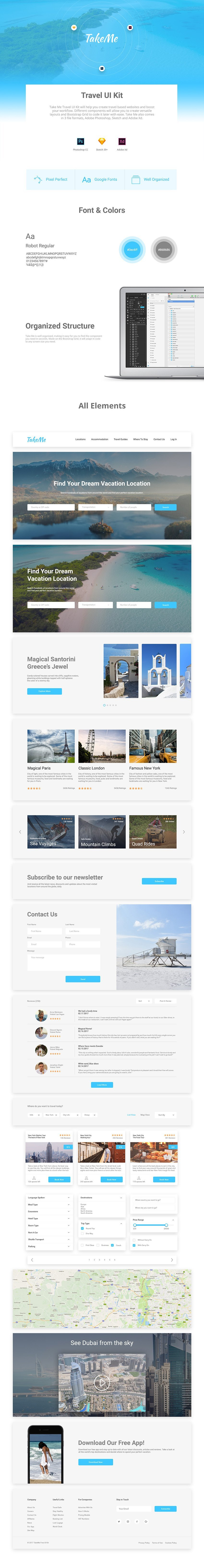 Take Me Free Web Template for Photoshop, Sketchapp and Adobe Xd