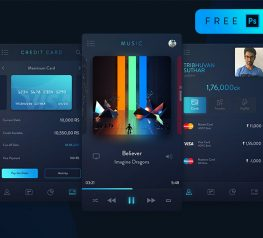 Trix Dark Blue UI Kit PSD Freebie