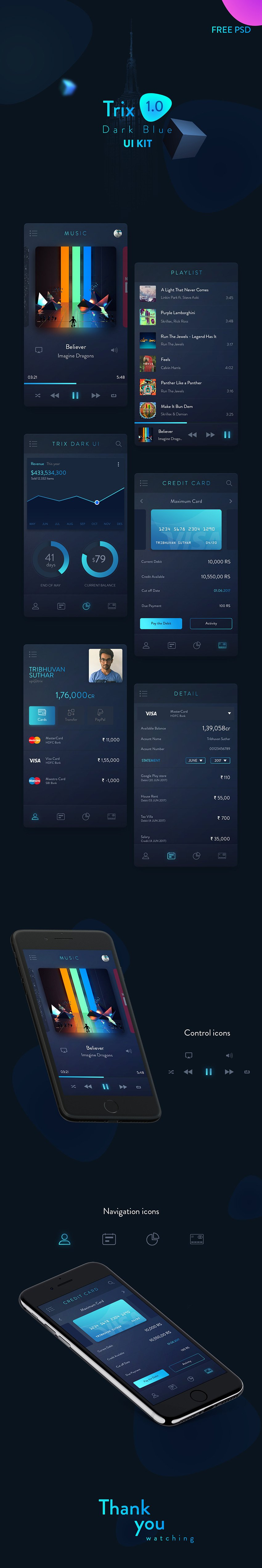 Trix Dark App Design UI Kit - Personal Banking App Design