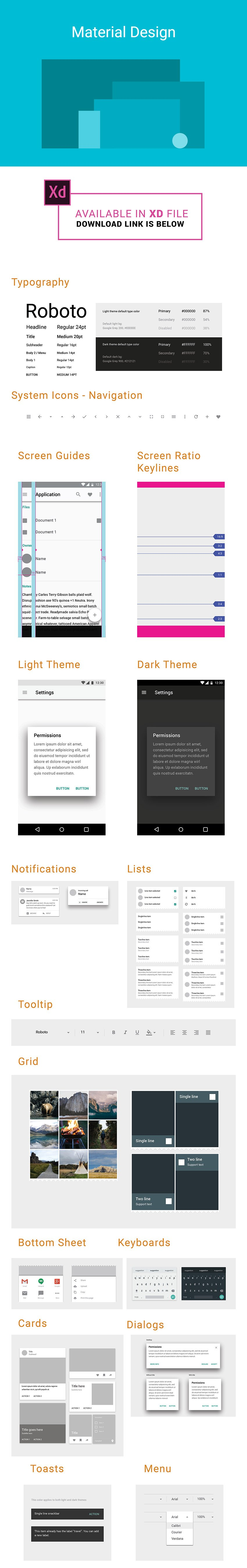 Basic Material Design Guidline for Adobe XD from Android
