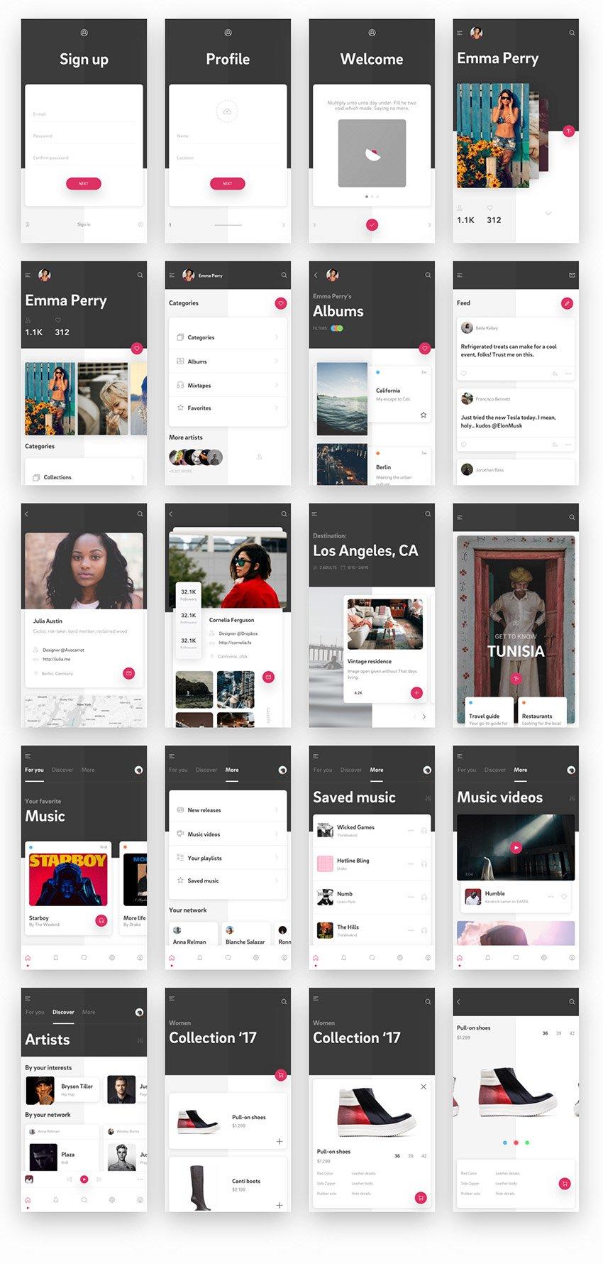 Cherise Free App Design UI Kit for Sketch Designers