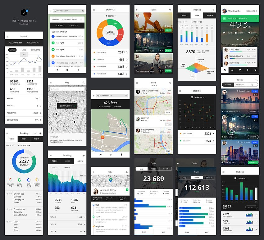 Tracking App Design UI Kit PSD