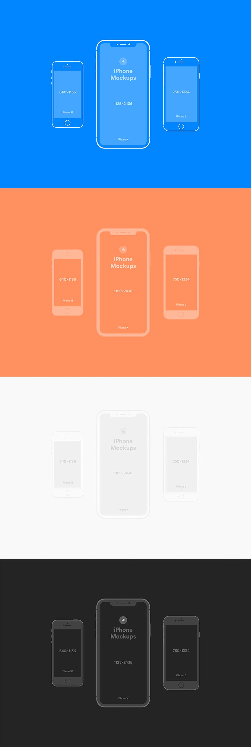 iPhone X, 8, SE Vector Mockups for PSD & Sketch