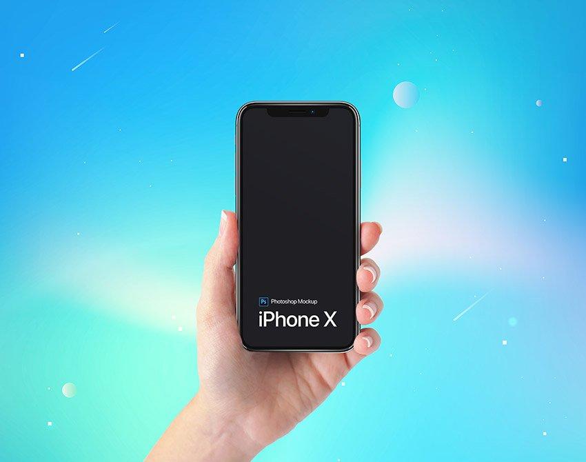 iPhone X Free Hand Mockup PSD