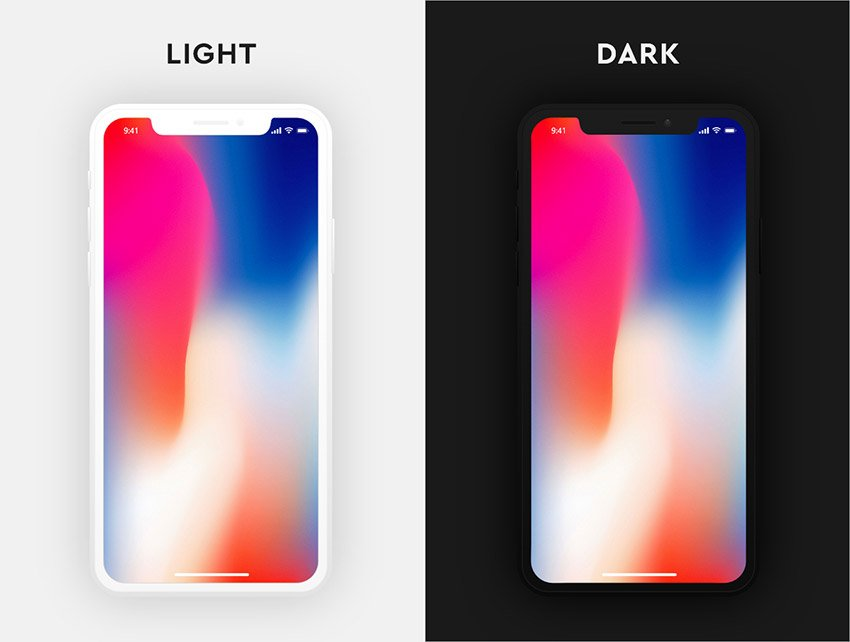 iPhone X Dark & Light for Adobe XD