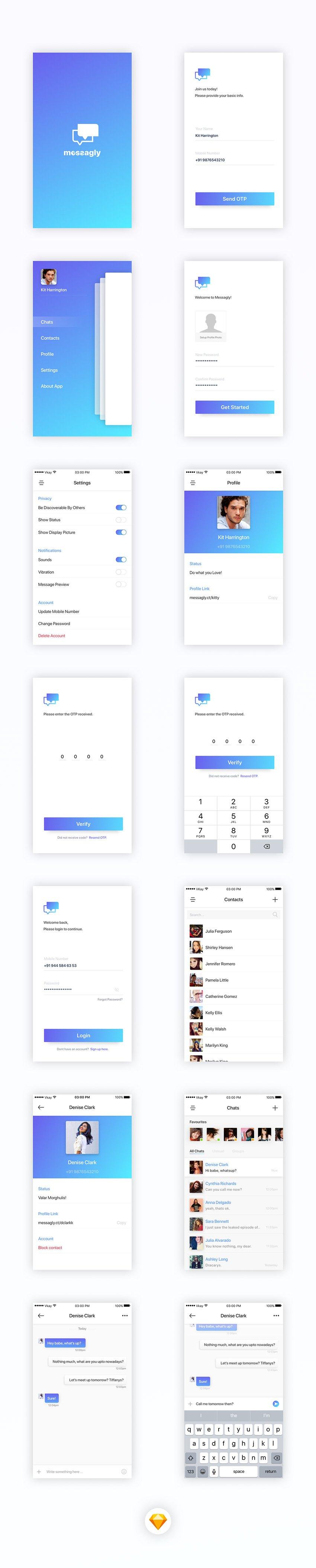Messagly Free App Design UI Kit for Sketchapp