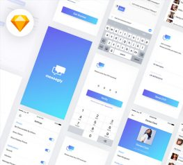 Messagly Free App Design UI Kit for Sketch Designers