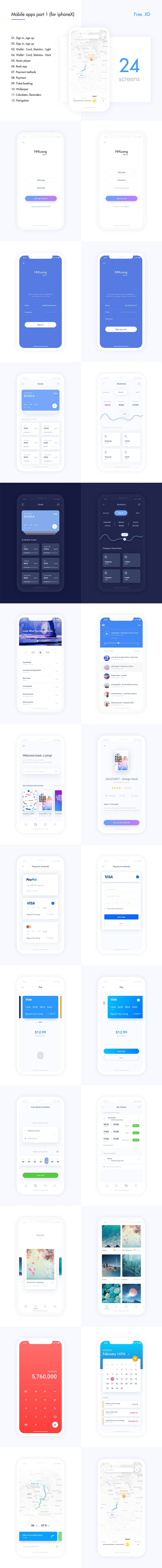 Mobile Apps for iPhone X and Adobe Xd
