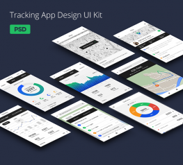 Tracking App Design UI Kit for PSD - Sport & Fitness App Concept