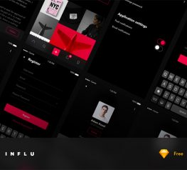 INFLU Photography UI Kit App Design for Sketch