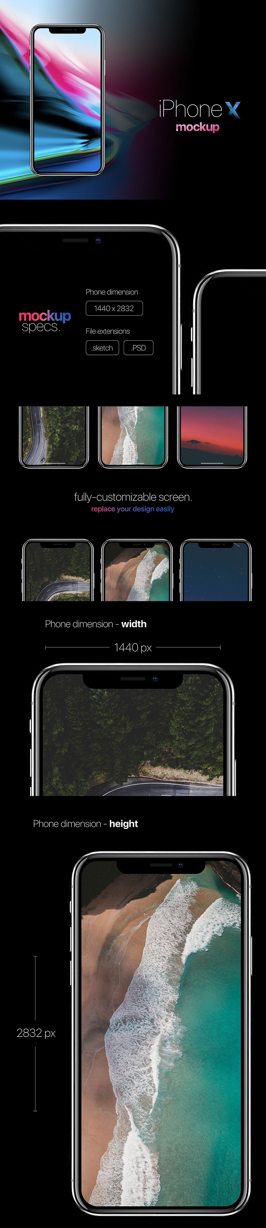 iPhone X Fre Mockup for Sketch and PSD