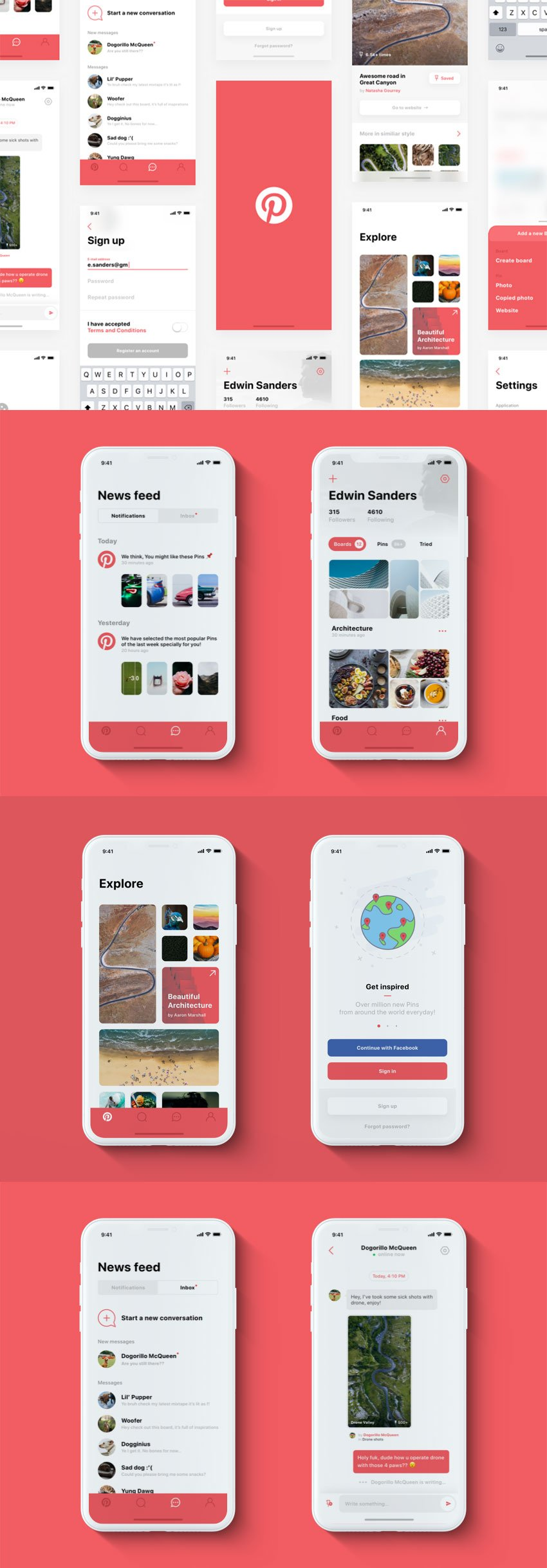 Pinterest App Design iPhone X Concept App Design for Sketch
