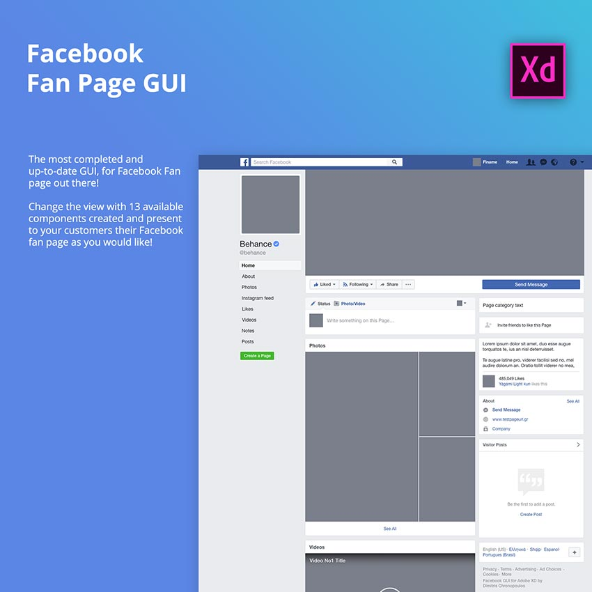 Facebook Fan Page GUI for Desktop - Adobe Xd - FreebiesUI
