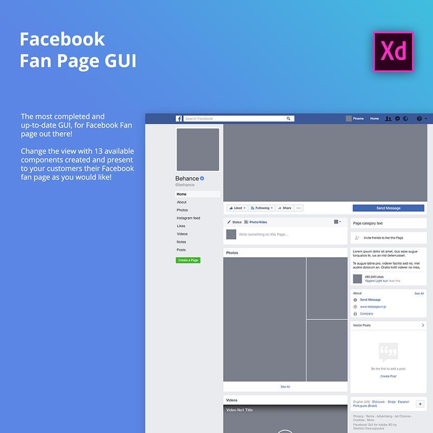 Facebook Fan Page GUI for Desktop - Adobe Xd Resource