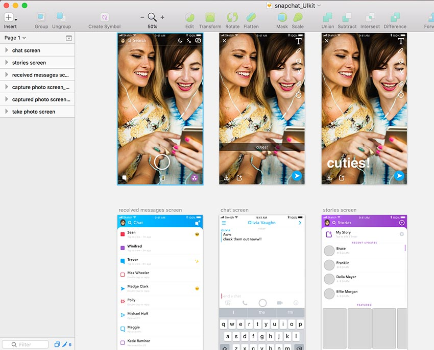 Snapchat Free UI Kit for Sketch Designers