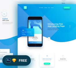 Flok App Landing Page Freebie for Sketch and PSD