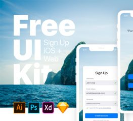 Sign Up iOS Web Free UI Kit for Xd, AI, PSD and Sketch