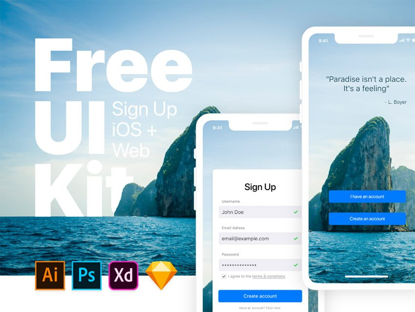 Sign Up iOS & Web UI Kit - Free Asset for Adobe Xd - FreebiesUI