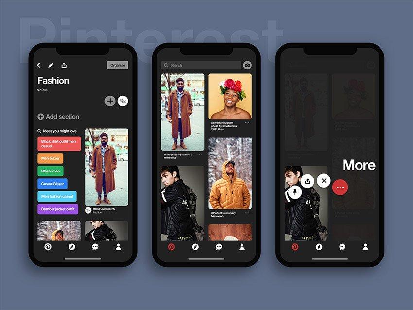 Pinteres Dark UI Kit for Figma