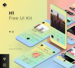 H1 App Design UI Kit for Sketch and PSD - 470 UI Elements
