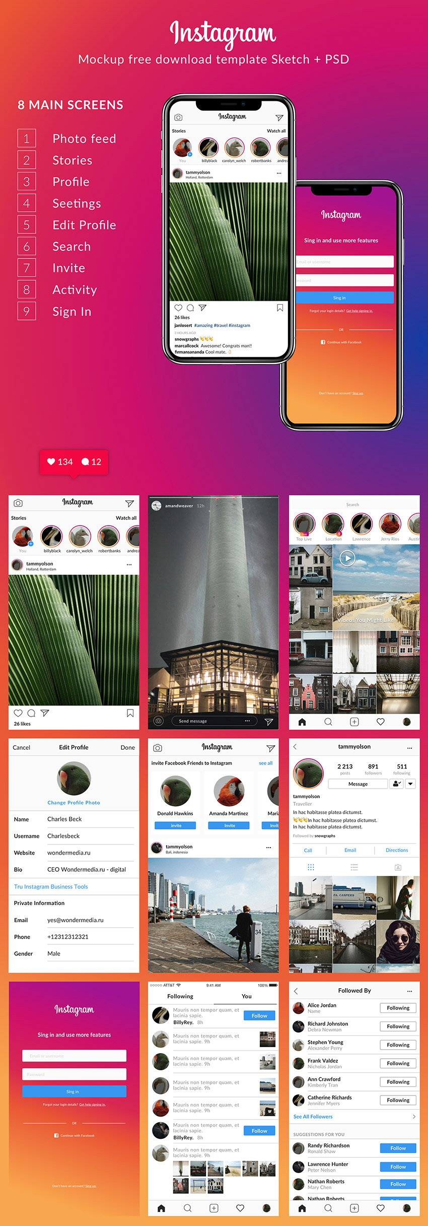 instagram ui kit 2018 9 screens free psd sketch freebiesui. Black Bedroom Furniture Sets. Home Design Ideas