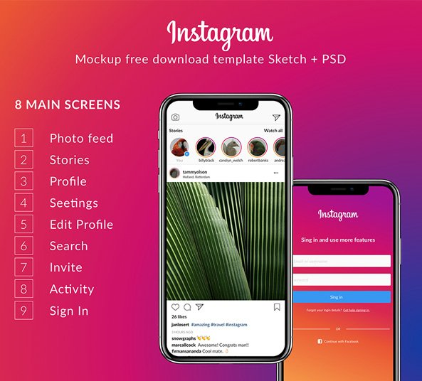 instagram ui kit 2018 9 screens free psd sketch freebiesui