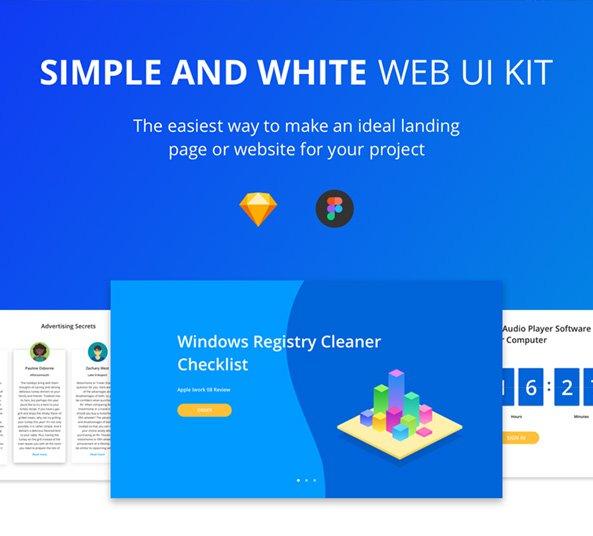 simple-white-web-ui-kit-figma-sketch - FreebiesUI