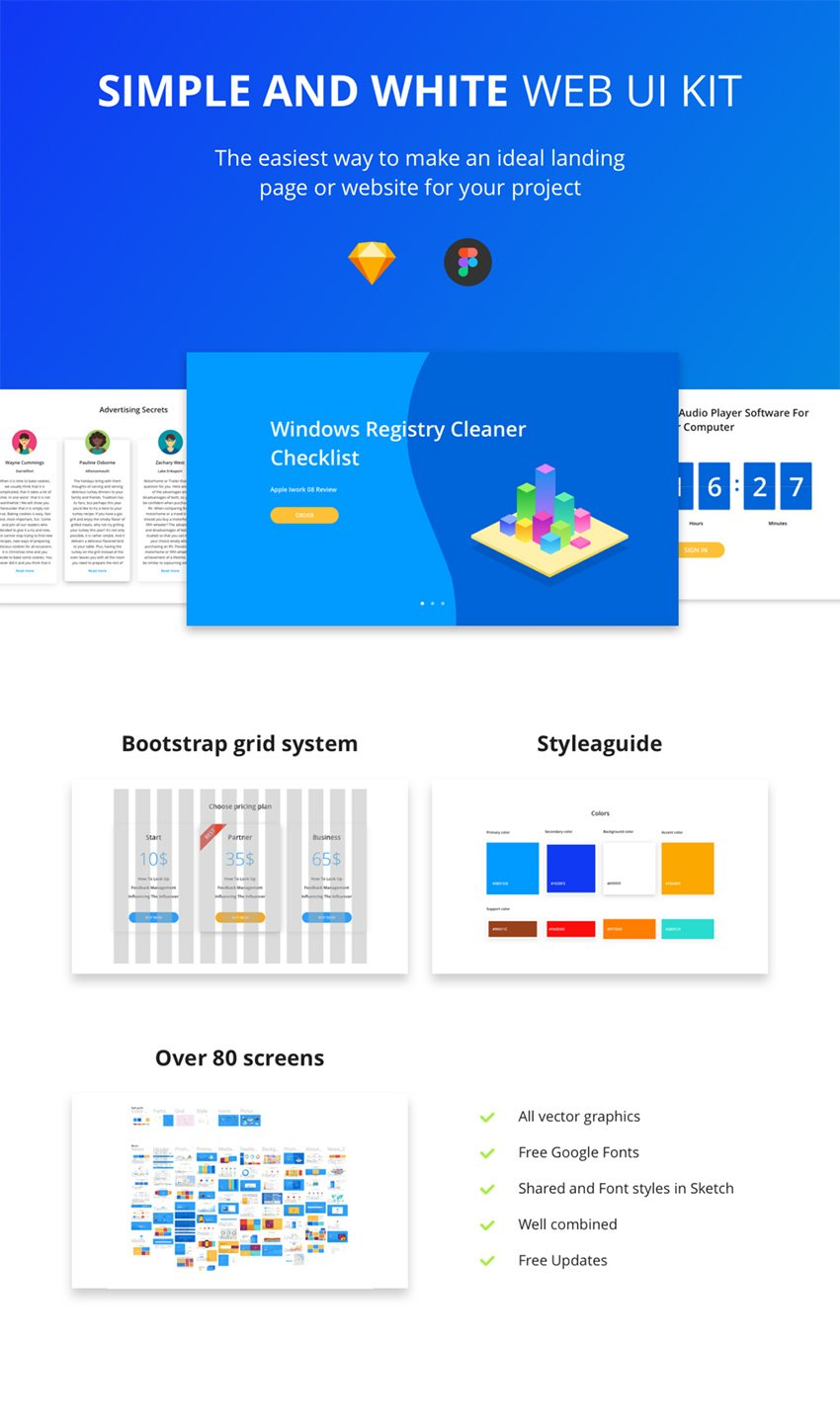 Simple and White Web UI Kit - +80 Figma & Sketch Screens - FreebiesUI