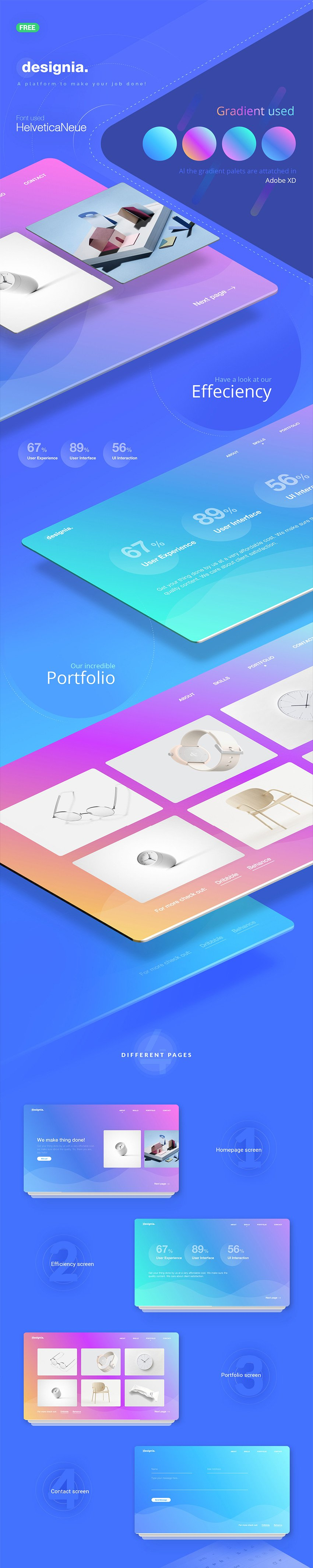 Designia Landing Page - Web Template for Adobe Xd