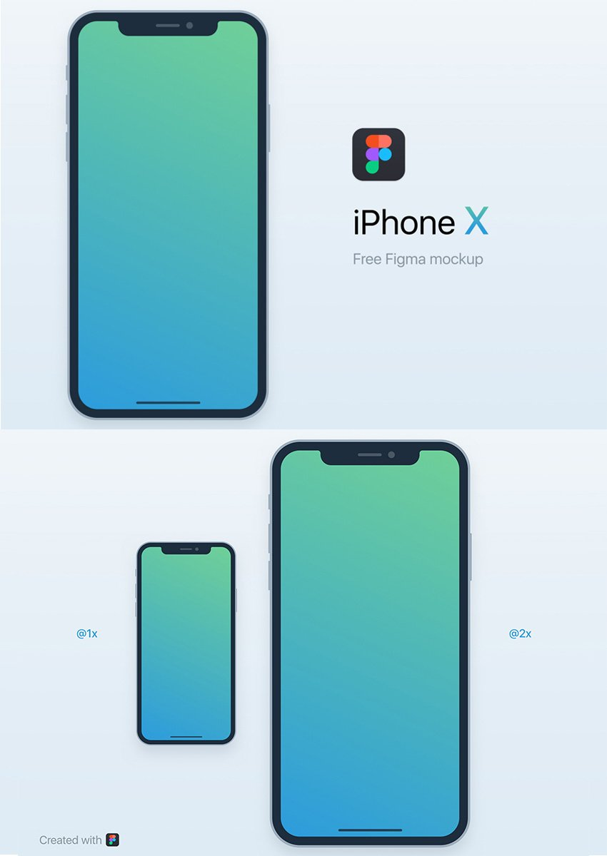iPhone X Free Mockup 2 for Figma - Front Black Model - 2x