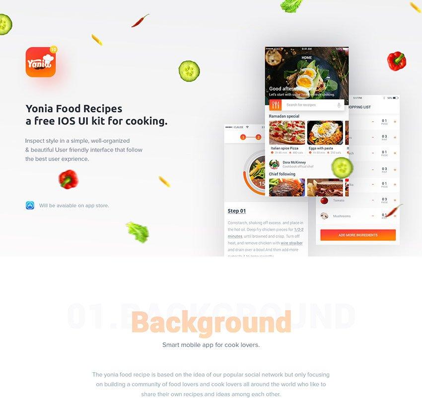 Yonia Food Recipes iOS UI